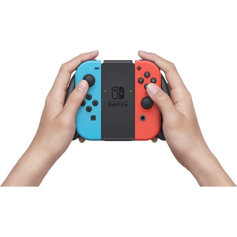 "Newest Nintendo Switch with Neon Blue and Neon Red Joy-Con - 6.2"" Touchscreen Display, 32GB Internal Storage - Family Christmas Holiday Gaming Bundle - Blue and Red - iPuzzle 12-in-1 Carrying Case"