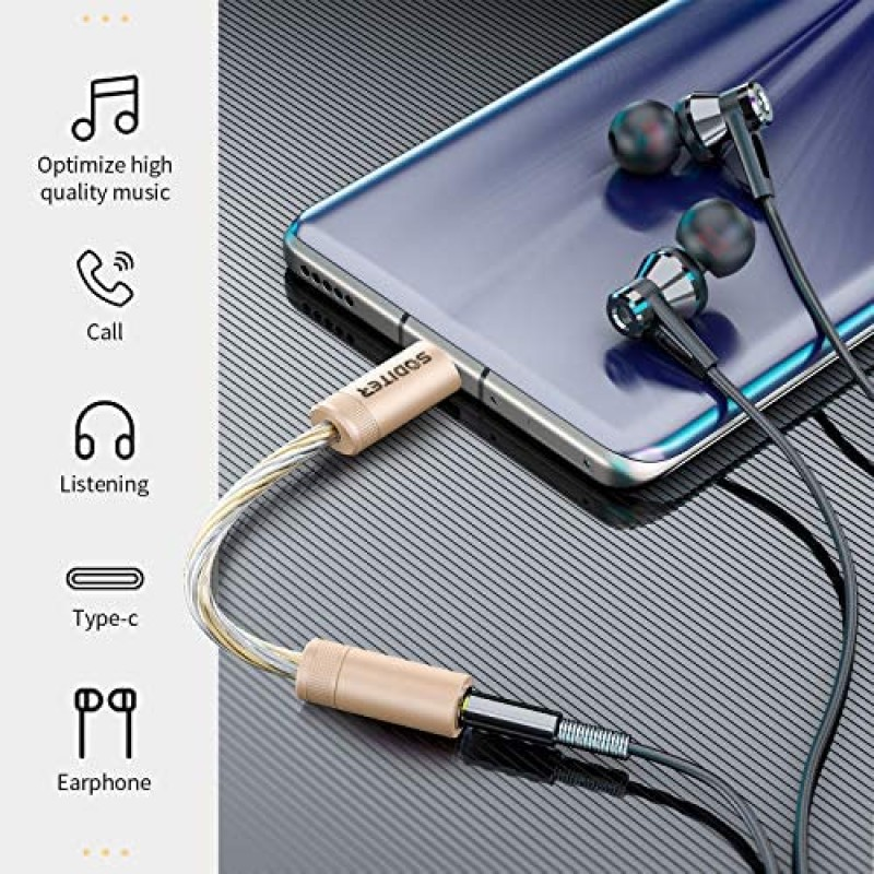 SODITER USB-C to 3.5mm Female Headphone Jack Hi-Res DAC Audio Adapter,Type C to Digital Audio Dongle Cable Cord,Compatible with Google Pixel 4 3 2 XL Samsung Galaxy S20 iPad Pro 2018 2019 and More