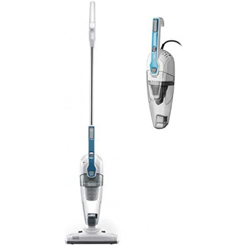 Black & Decker Stick Vacuum Cleaner Powerful Suction 3-in-1 Small Handheld Vac with Filter for Hard Floor Lightweight Upright Home Pet Hair, White with Aqua Blue